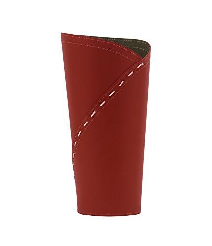 Katrina: Porte parapluies en Cuir Couleur Rouge, Porte Parapluie de Design avec Un Plateau de Crochets by Limac Design®.