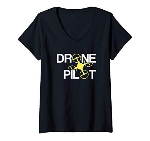 Mujer Piloto de Drones Camiseta Cuello V
