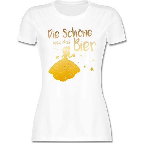 Typisch Frauen - Die Schöne und das Bier - M - Weiß - Tshirt mit Spruch Damen - L191 - Tailliertes Tshirt für Damen und Frauen T-Shirt