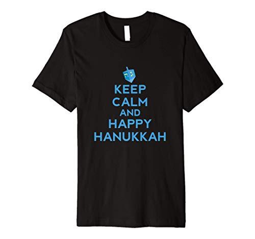 Keep Calm And Happy Hanukkah Jewish Holiday Israel Dreidel Premium T-Shirt