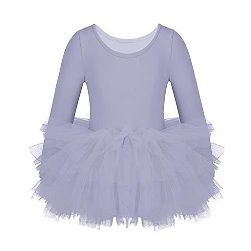 Vestido de Danza Ballet Manga Larga para Niña Maillot de Gimnasia Rítmica con Falda Tul Leotardo Elástico de Baile Disfraz de Bailarina Traje de Ballet, 6-7 Años