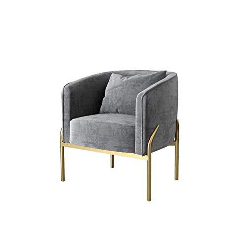 Yuansr Silla Sala de Estar sillón bañera Silla Lateral salón Terciopelo Suave tapizado para Comedor/cafetería Muebles para el hogar (Color : Gray)