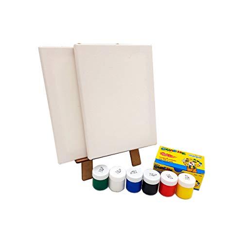 Kit Pintura Infantil C/Mini Cavalete + tintas + 2 Telas + Pincel