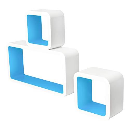 Lestarain LGA012 Juego de 3Estanteria Cubo de Pared Cuadrada Libreria Repisas Invisibles Estanteria Pared Flotantes Blanco/Azul Decorativo CD
