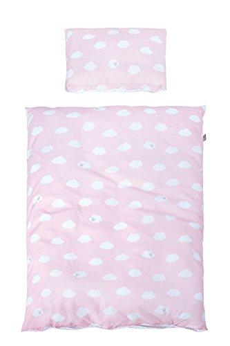 roba Bettwäsche 2-tlg, Kollektion 'Kleine Wolke rosa', Kinderbettwäsche 100x135 cm, 100% Baumwolle, Decken-& Kissenbezug für Babys & Kinder