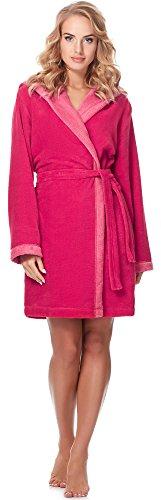 Merry Style Bata Corta con Capucha Vestidos de Casa Ropa Mujer MSLL1002 (Coral/Rosa, XL)