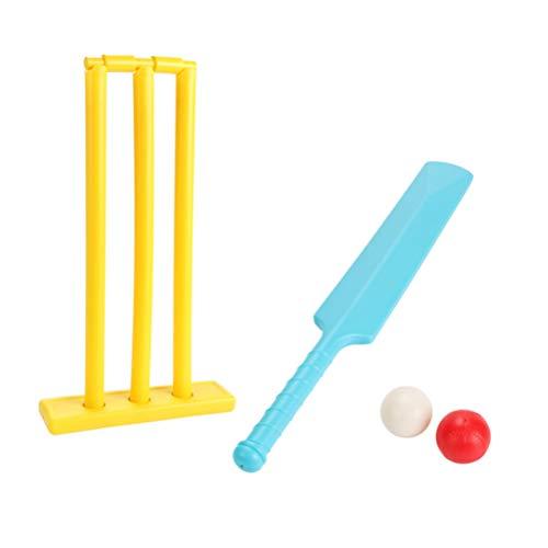 NUOBESTY 4 Stück Kinder Cricket Set im Freien Spielen Cricket Ball Schläger Stumpf Eltern Kind Interaktives Sportspiel für Hausgarten Hinterhof (Zufällige Farbe)