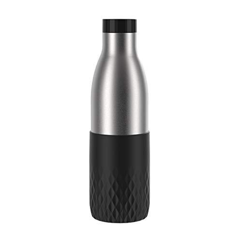 Emsa Botella Bludrop Sleeve N311100, 0,7 litros, 100 % hermética, cierre Quick-Press, placer de beber 360°, calor 12 h frío, apto para lavavajillas, acero inoxidable, color negro