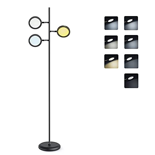 Lámpara de Pie con Control Táctil ,Tomshine Lámpara de Pie Lectura Lectura Regulable con 3 Cabezas de 350° Ajustable Giratorio para Salón,Dormitorio,Oficina