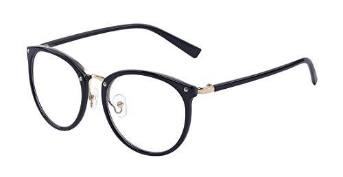 ALWAYSUV Retro Mode Vintage Print runden Metall Vollrahmen klare Linsen Brille für Frauen/Männer