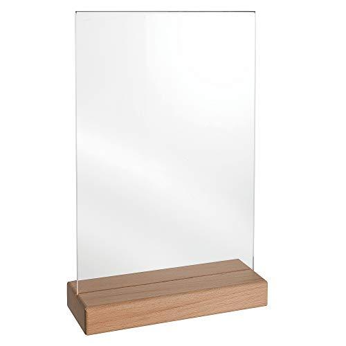 Tischkartenhalter DIN A4 mit Fuß aus Buchenholz und Plakattasche aus Acrylglas doppelseitig/Werbeaufsteller/T-Aufsteller/Tischaufsteller/Gastronomie - Zeigis®