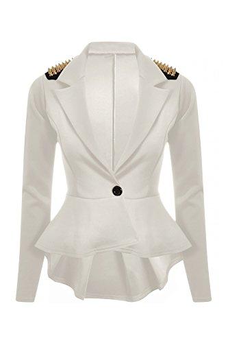 Damen Top mit Schößchen, langärmlig, 1 Knopf, Blazer, Weiß, EU 38