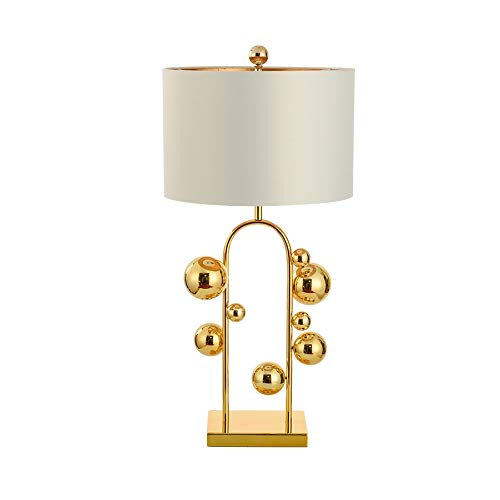 WZHZJ Simple Warm Golden Table Lamps Retro Creative American Style Lighting for Bedroom Foyer Hotel Decorative Lights (Color : White)