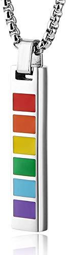 NC66 Rainbow LGBT Pride Mini Etiqueta de Perro Cruz cilíndrica Colgante de Acero Inoxidable para Collar Unisex-Mini_Dog_Tag_-_ Plata
