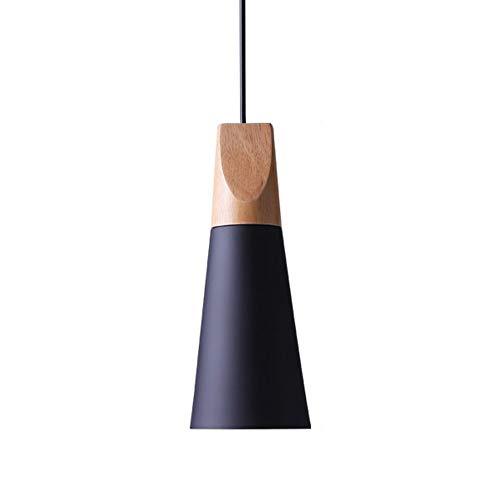 Iluminación Colgante E27 Moderno Estilo LED Araña de metal Madera Vintage Retro Lámpara de Techo Sala de Estar Comedor Colgante de Luz, Negro