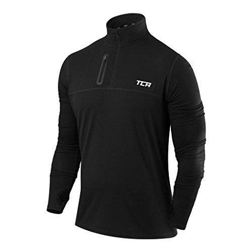 TCA Men's Fusion Pro Quickdry Long Sleeve Half-Zip Running Shirt - Black, Large