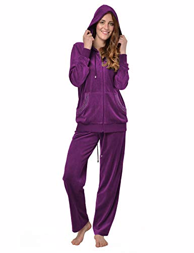 RAIKOU Damen Micro Velours Freizeitanzug Hausanzug mit Reißverschluss Nicki-Anzug Zweiteiliger Schlafanzug mit Strasssteinen (44/46, Lila Rot)