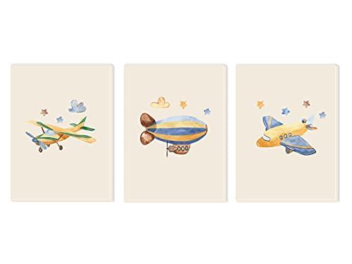 Pack 3 Tríptico cuadros con marco decorativos de lienzo impreso infantiles para decoración pared habitación dormitorio niños con bastidor de madera - 3 cuadros tamaño 30x40cm (Aviones)