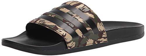 adidas Men's Adilette Comfort Slides Sandal, Wild Pine/Black/Dark Brown, 4