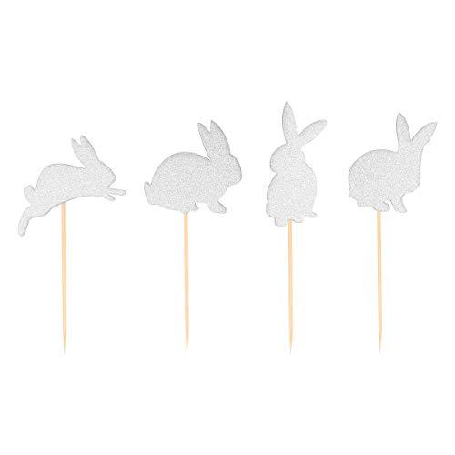 Amosfun - Set di 24 Decorazioni per Torte a Forma di Coniglietto e Cupcake, con Glitter, per Pasqua, Compleanno, Colore: Argento