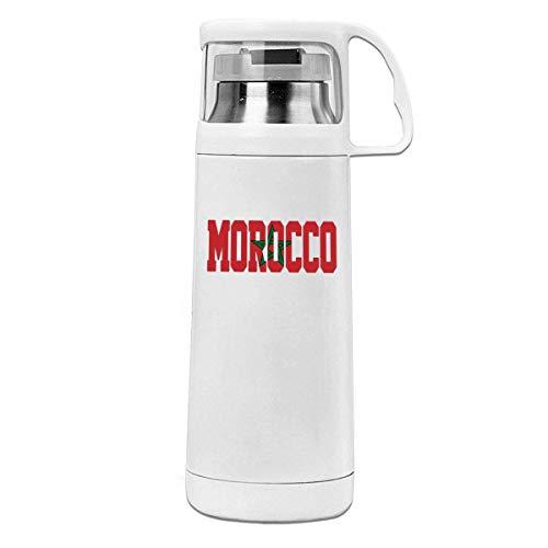AEMAPE Taza Termo de Acero Inoxidable aislada con Bandera de Marruecos, Botella de Agua portátil con asa, Taza de té al vacío, Taza de Viaje
