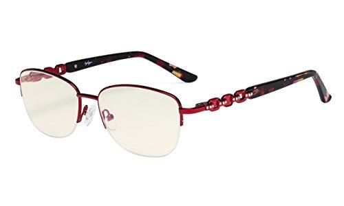Eyekepper Damen Blau Licht Filtering Computer Brille-Halbrand Stilvolle Lesebrille-UV420-Schutz,Anti-Augenbelastung.Erleichterung Müdes Auge Damen Lesebrille-Rot+2.00