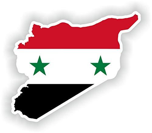 Tiukiu Syrische Karte Flagge Silhouette Aufkleber für Laptop Buch Kühlschrank Gitarre Motorrad Helm Werkzeugkasten Tür PC Boot