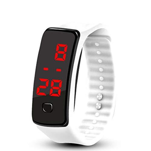 Kreative LED-Silikon-Armband-Armband-leichte weiche Mode-Fitness-Sport-Band-Uhr für Männer Frauen - Weiß