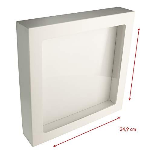 3D Bilderrahmen zum Befüllen 25x25cm – Box Bilderrahmen weiß mit Glasscheibe – kreative Verpackung für Geldgeschenke Hochzeit – Hochzeitsgeschenke Geld Verpacken