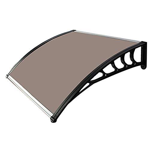 LINGZE Toldo para Puerta Panel Mate para Exteriores, decoración Cubierta de Puerta de Entrada Refugio para Lluvia y Nieve Soportes Laterales en Aluminio Negro Ajuste fácil