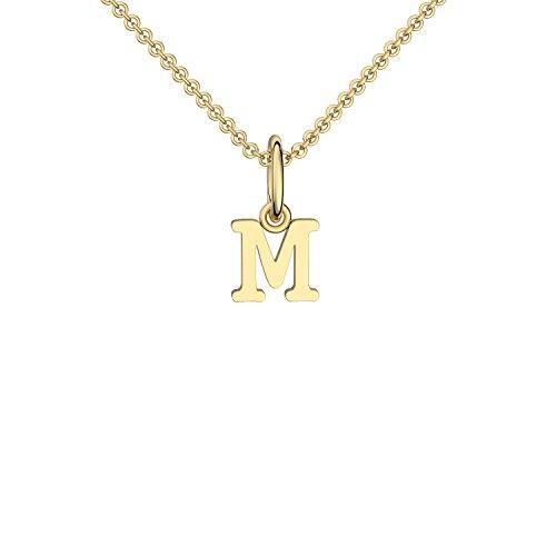 Halskette Buchstabe Gold hochwertig vergoldet Buchstabe M - inkl. Luxusetui + - Kette Buchstabe M Buchstabenanhänger Buchstaben Anhänger Gelbgold Kette Gold vergoldet FF116 VGGG45