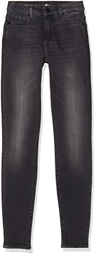 7 for all mankind Damen Skinny Jeanshose HW, Schwarz (Black UX), W30/L30 (Größe: 30)