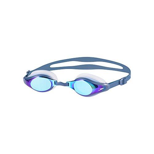 Speedo Goggles Mariner Supreme Mirror, Clear/Navy/Blue Mirror, One Size, 8-11319B974