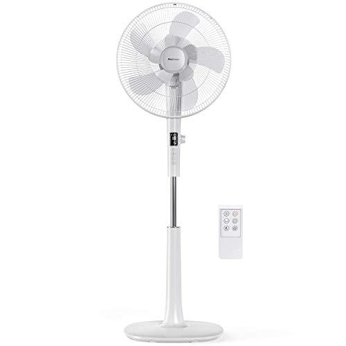 Pro Breeze Ventilador de Pedestal DC 40 cm Cuchillas Dobles. Potente y de Baja Energía, Control Remoto y Pantalla LED. 26 Velocidades, 3 Modos de Funcionamiento, 90° de Oscilación