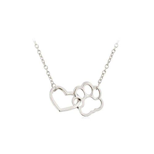 Elenxs Collar de Perro de Las Huellas de la Garra del corazón clavícula Collar de la Forma de Cadena para Mujeres de la Muchacha