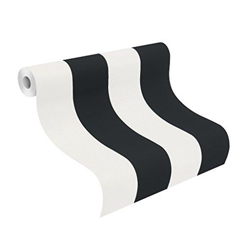 rasch Papier-Tapete, grafisch, Streifen, schwarz, Creme, Just Me, 286694, Weiß