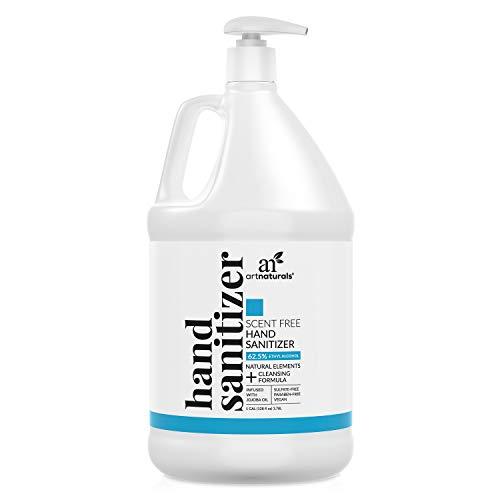 Artnaturals Hand Sanitizer Gel Alcohol Based (1 Gallon x 128 Fl Oz / 3785ml) Infused with Jojoba Oil, Alovera Gel & Vitamin E - Unscented Fragrance Free Sanitize