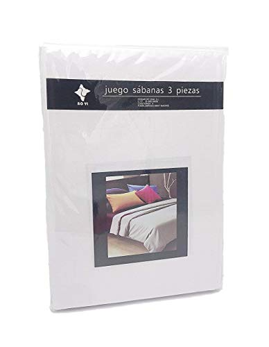 LEYENDAS Juego SABANAS 3 Piezas Liso 15 Color,100% Poliester (Blanco, 150_x_200_cm)