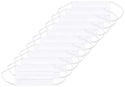 Oscar Apparels Wiederverwendbare Stoffmaske, 100% BCI Baumwolle mit elastischer Schlaufe, Weiß, Erwachsene (10er Pack)