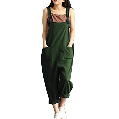 Damen Frauen Retro Latzhose Lässig Insgesamt Baggy Jumpsuits, Morbuy Leinen Taschen Playsuit Hose Lange Harem Casual Overalls Täglichen Trousers Pants Schwangere Hosen (S,Grün)