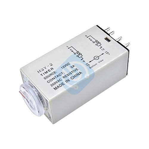 Relé de retardo de tiempo H3Y-2 DC 12V Relé de tiempo de retardo Electricidad Interruptor de control de temporizador de relé de temporización H3Y2