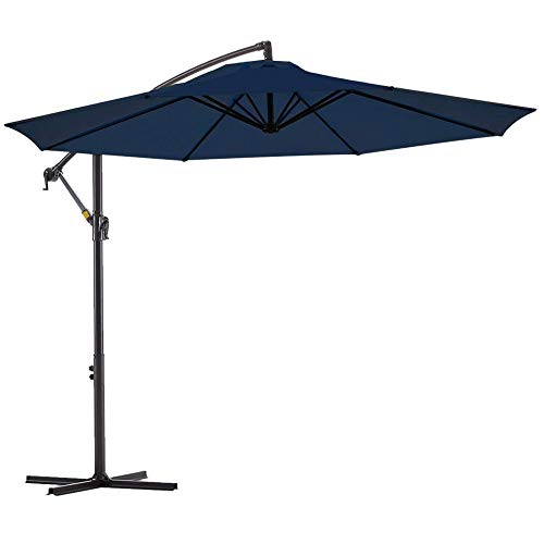 JIEH 10ft Sonnenschirm mit Stahlmast Kurbelmechanismus Ampelschirm Gartenschirm Marktschirm Balkonschirm Terrassenschirm Schirm