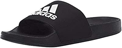 adidas unisex child Adilette Shower Sandal, Black/White/Black, 6 Big Kid US