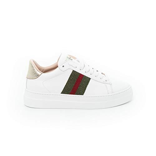 Stokton Sneaker Band 758D, Weiß - Vitello Bianco Nastr - Größe: 38 EU