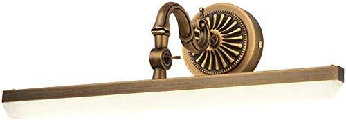 Amerikaanse spiegellamp voor badkamer, retro LED-tafellamp van koper met anti-condenslamp, waterdicht, warm wit, Rollsnownow (afmetingen: klein, 9 watt)
