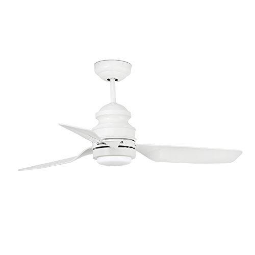 Faro Barcelona 33498 - PHUKET Ventilador de techo con luz (bombilla incluida) LED, 12W, cuerpo de acero 3 palas blancas de abs difusor de cristal opal, color blanco