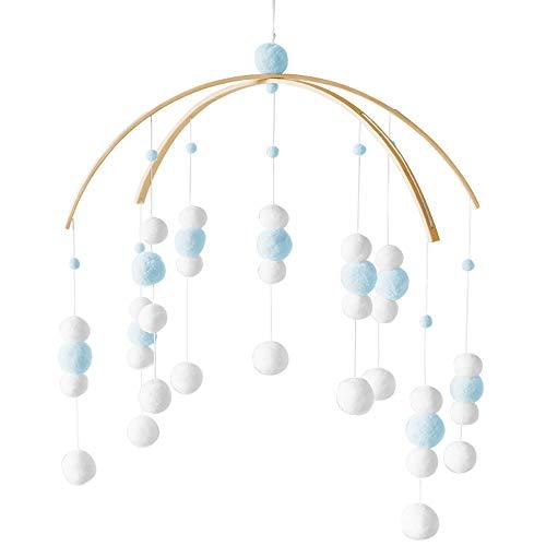 Babybett Mobile Windspiel, Speyang Mobile mit Filzbällen, Baby Mobile Glocke, Bettglocke Baby, Deckenmobile Baby Mädchen Junge, für Kinderbett Dekoration (Blau)