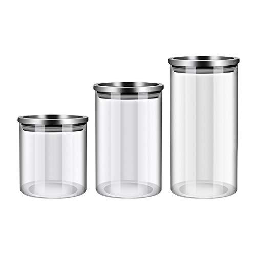 WFS Recipiente hermetico Jars DE VIDRIOS Jars AERIUSTA BANISTAS DE ALIMENTACIÓN Almacenamiento de Alimentos Organización Transparente con Tapas para té de Cereal de azúcar Alta Capacidad