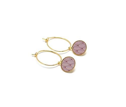 Mini orecchini cerchio Giappone malva oro rosa cipria ottone dorato oro 24K resina regali di Natale amici cerimonia di compleanno ospiti di nozze festa della mamma