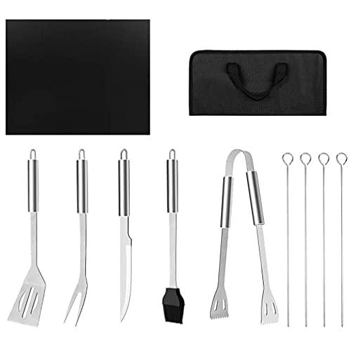 BESTonZON BQ Barbacoa Tool - Juego de 11 accesorios de acero inoxidable para barbacoa con bolsas de almacenamiento completo para barbacoa al aire libre